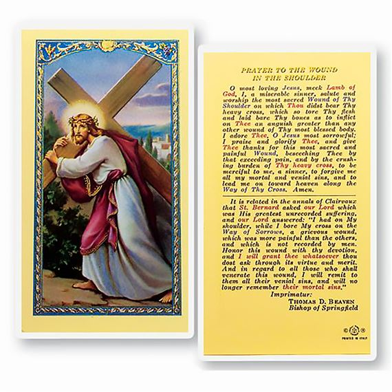 LAMINATED HOLY CARD PRAYER FOR SHOULDER WOUND