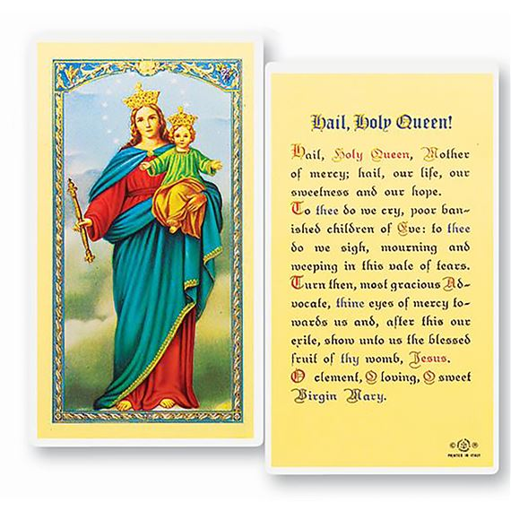 LAMINATED HOLY CARD - HAIL, HOLY QUEEN