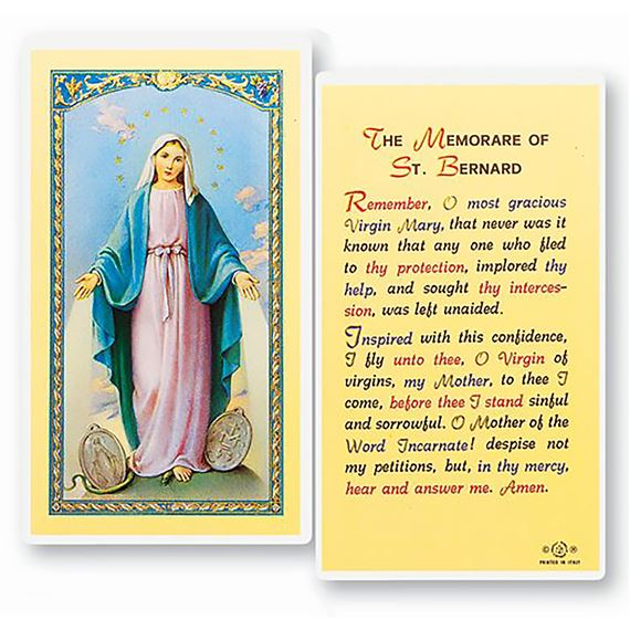 LAMINATED HOLY CARD - MEMORARE OF ST. BERNARD