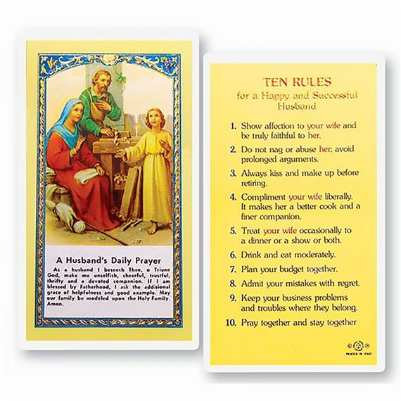 LAMINATED HOLY CARD - TEN RULES - HUSBAND