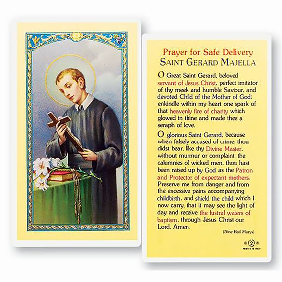 LAMINATED HOLY CARD - SAINT GERARD