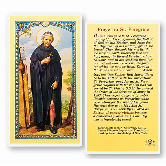 LAMINATED HOLY CARD - ST. PEREGRINE