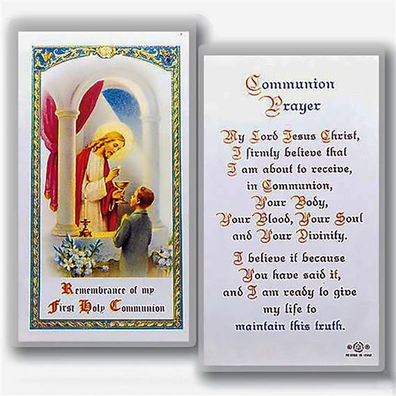 LAMINATED HOLY CARD BOY FIRST COMMUNION