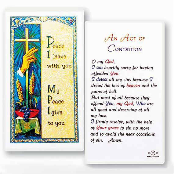 LAMINATED HOLY CARD - ACT OF CONTRITION
