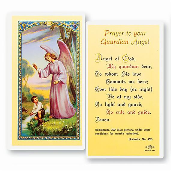 LAMINATED HOLY CARD - GUARDIAN ANGEL - BOY