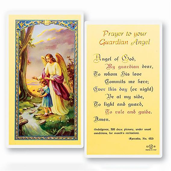 LAMINATED HOLY CARD - GUARDIAN ANGEL - GIRL