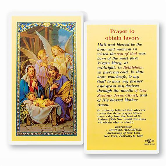 LAMINATED HOLY CARD PRAYER TO OBTAIN FAVORS