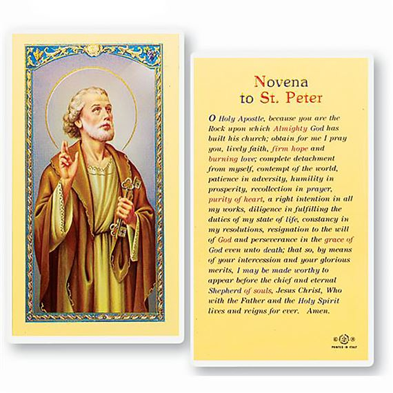 LAMINATED HOLY CARD - NOVENA TO ST. PETER