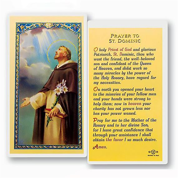 LAMINATED HOLY CARD - ST. DOMINIC