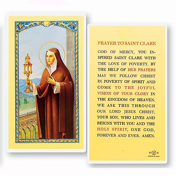 LAMINATED HOLY CARD - ST. CLARE