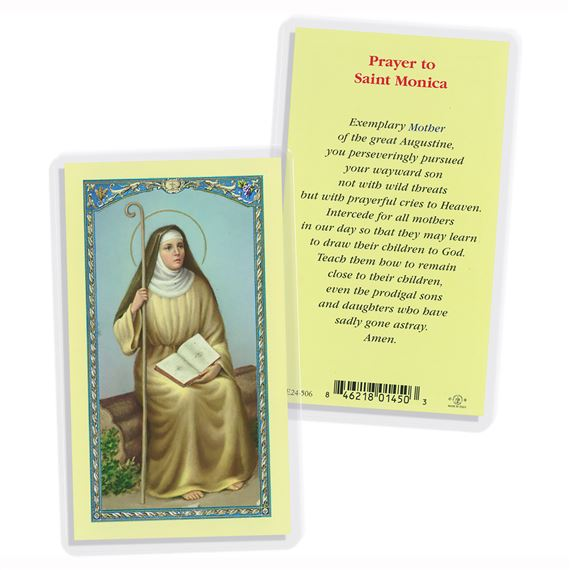 LAMINATED HOLY CARD SAINT MONICA WIDOW