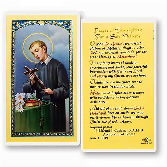 LAMINATED HOLY CARD - ST. GERARD