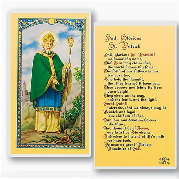LAMINATED HOLY CARD - HAIL GLORIOUS ST. PATRICK