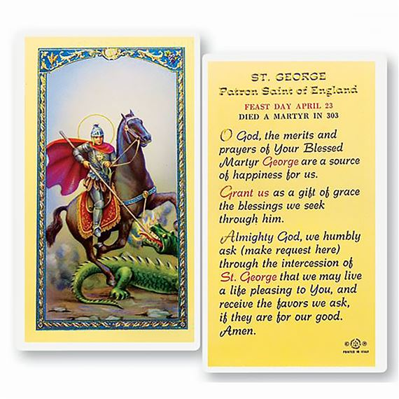LAMINATED HOLY CARD - ST. GEORGE