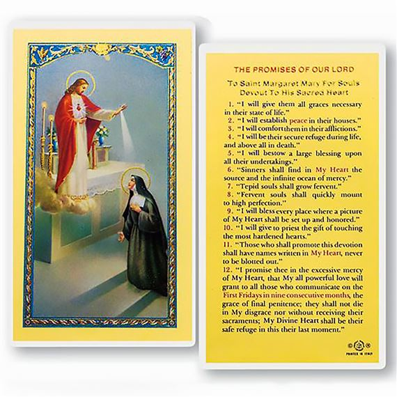 LAMINATED HOLY CARD - THE PROMISES OF OUR LORD