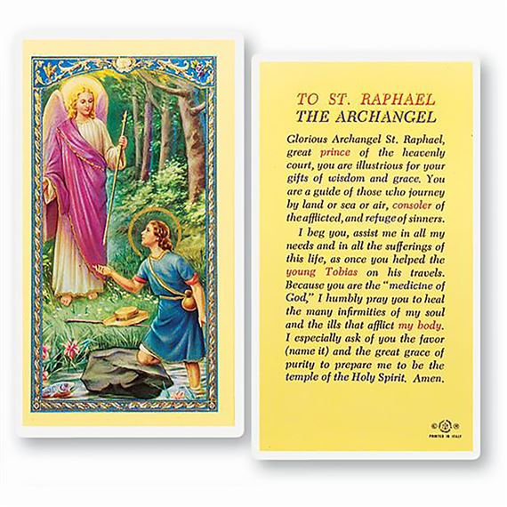 LAMINATED HOLY CARD - ST. RAPHAEL THE ARCHANGEL