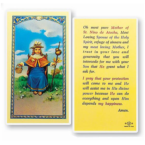 LAMINATED HOLY CARD - NINO DE ATOCHA