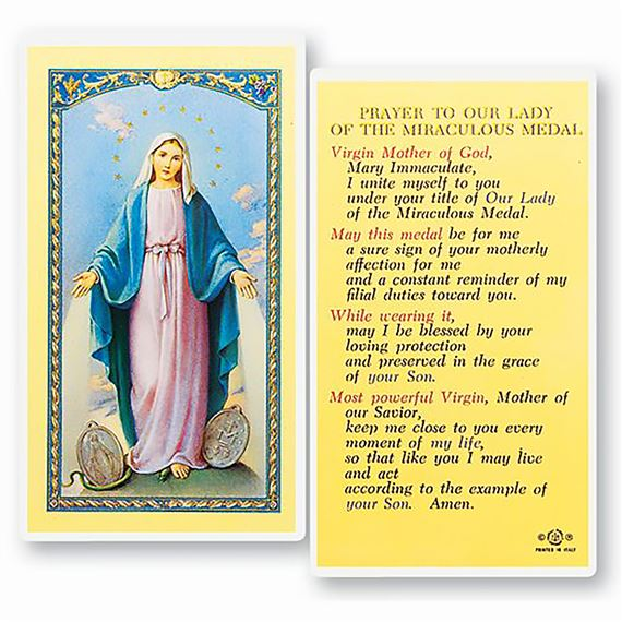 LAMINATED HOLY CARD - OUR LADY OF THE MIRACULOUS