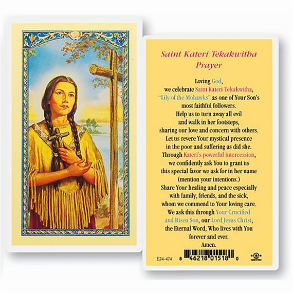 LAMINATED HOLY CARD SAINT KATERI TEKAKWITHA