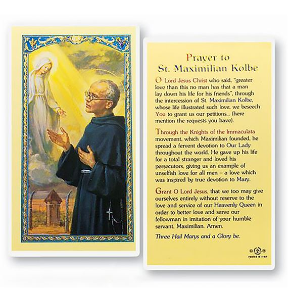 LAMINATED HOLY CARD - MAXIMILIAN KOLBE