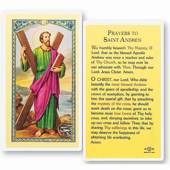 LAMINATED HOLY CARD - PRAYER TO ST. ANDREW
