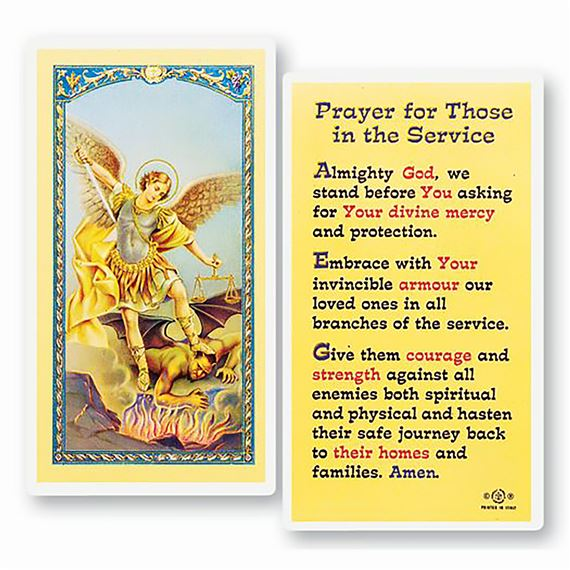LAMINATED HOLY CARD - PRAYER FOR THOSE IN SERVICE