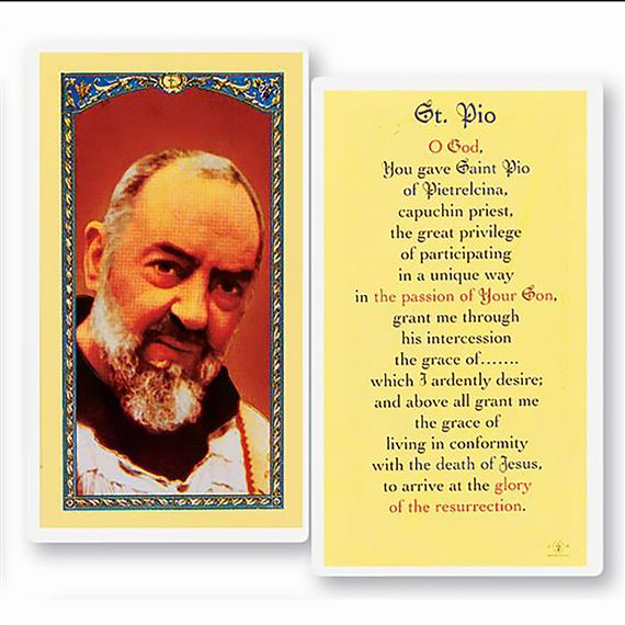 LAMINATED HOLY CARD - ST. PIO