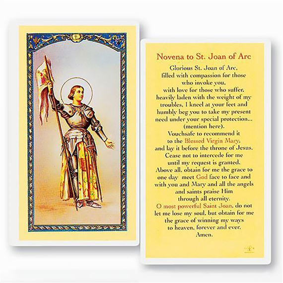LAMINATED HOLY CARD - ST. JOAN OF ARC