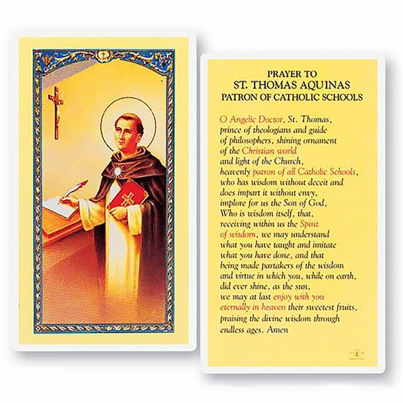 LAMINATED HOLY CARD - PRAYER TO ST. THOMAS AQUINAS