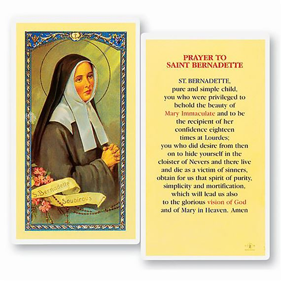 LAMINATED HOLY CARD - ST. BERNADETTE