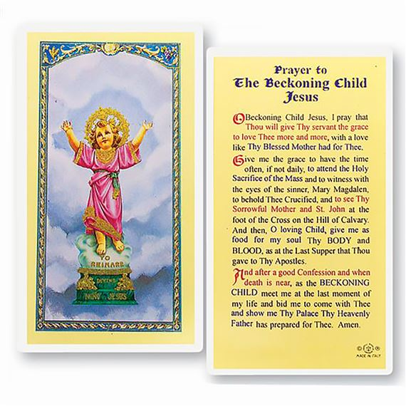 LAMINATED HOLY CARD - PRAYER TO THE CHILD JESUS