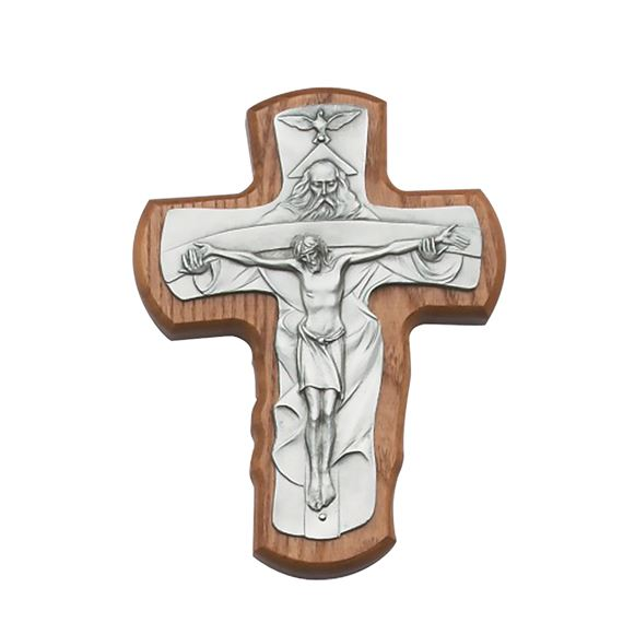 TRINITY CRUCIFIX ON STAINED OAK