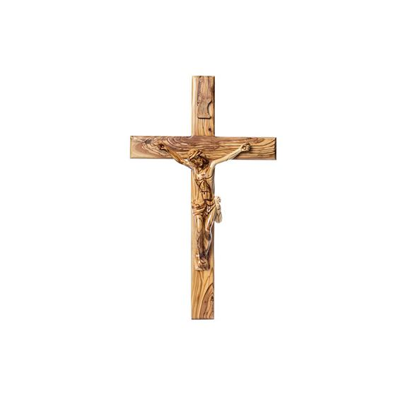 OLIVE WOOD CRUCIFIX - HAND CARVED