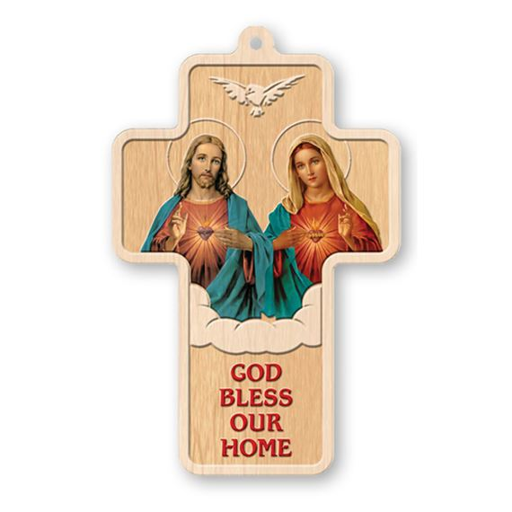 GOD BLESS OUR HOME - LASER CUT WOOD CROSS