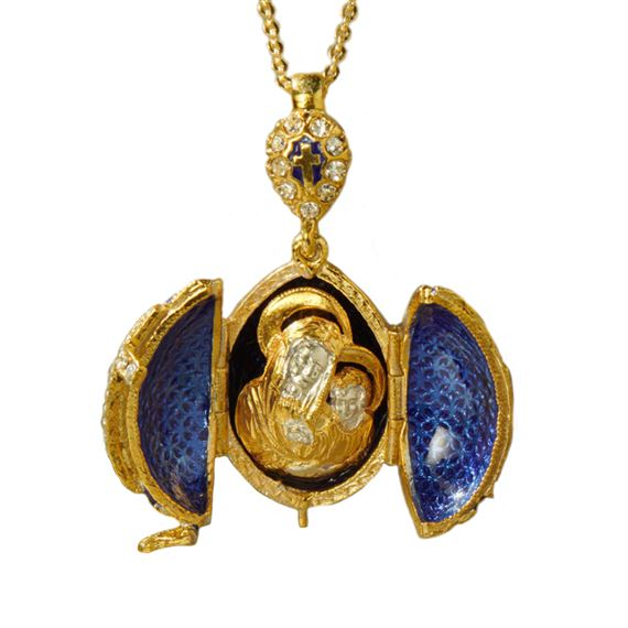 FABERGE STYLE EGG LOCKET WITH CROSS