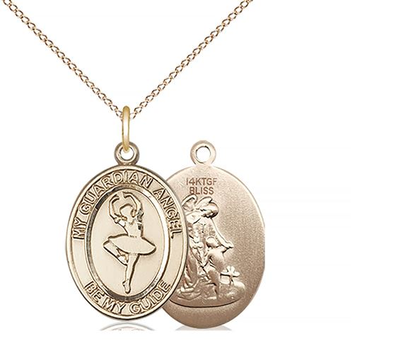 "14KT GOLD FILLED GUARDIAN ANGEL DANCE PENDANT WITH CHAIN - 3/4"" x 1/2"""