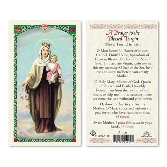 LAMINATED HOLY CARD - OUR LADY OF MT. CARMEL