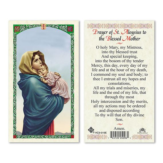LAMINATED HOLY CARD - PRAYER OF ST. ALOYSIUS