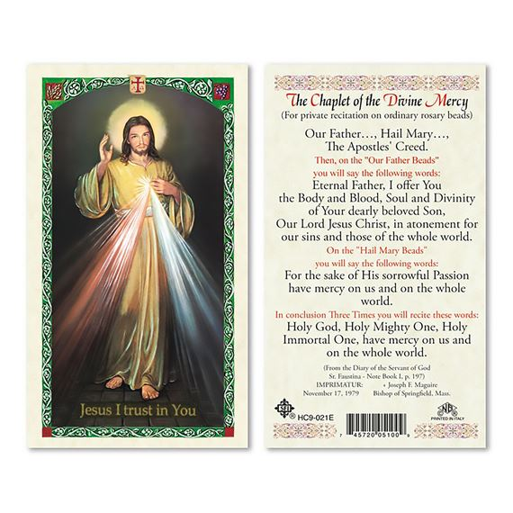 LAMINATED HOLY CARD THE CHAPLET OF DIVINE MERCY