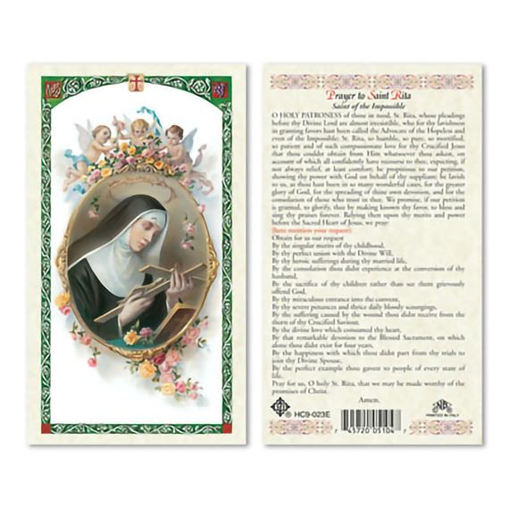 LAMINATED HOLY CARD - SAINT RITA