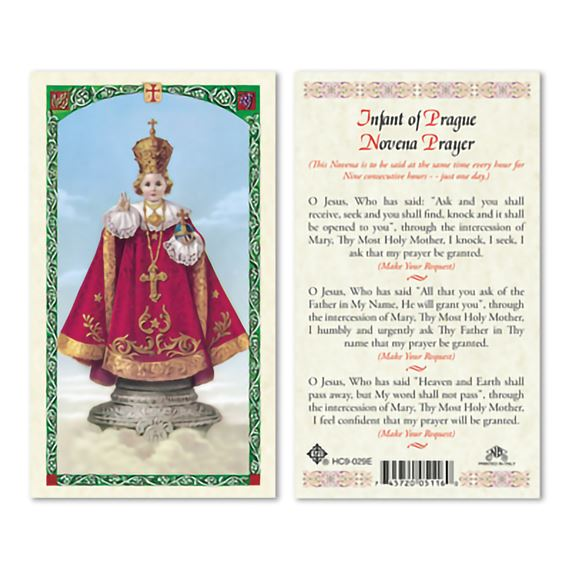 LAMINATED HOLY CARD - INFANT OF PRAGUE (NOVENA)
