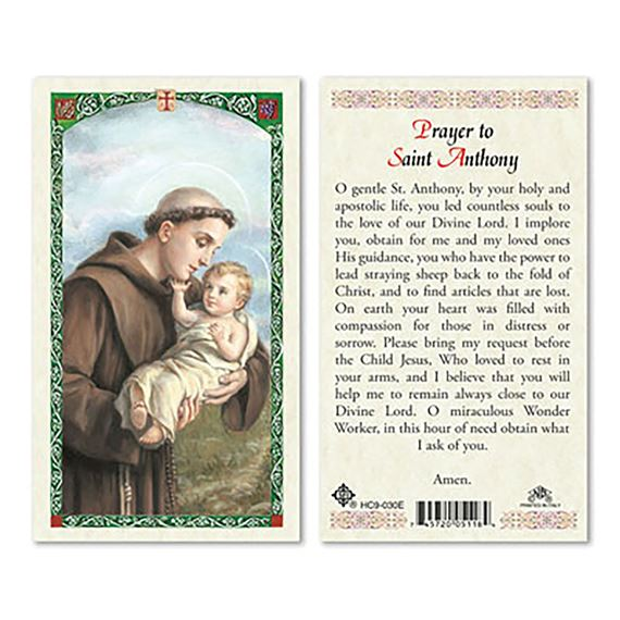 LAMINATED HOLY CARD - SAINT ANTHONY