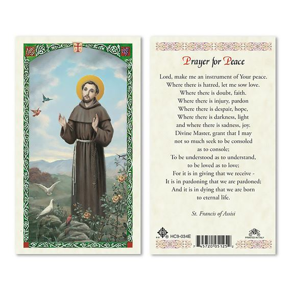 LAMINATED HOLY CARD - SAINT FRANCIS