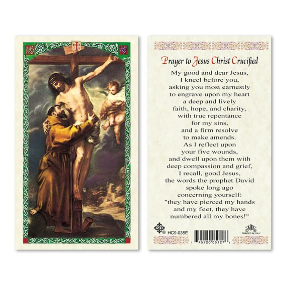 LAMINATED HOLY CARD - PRAYER TO JESUS CRUCIFIED