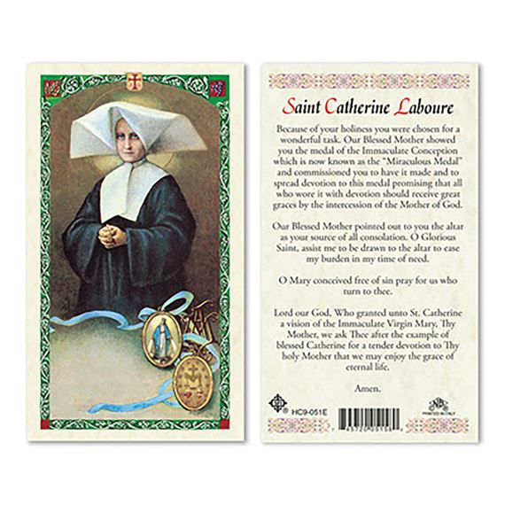 LAMINATED HOLY CARD - ST. CATHERINE LABOURE