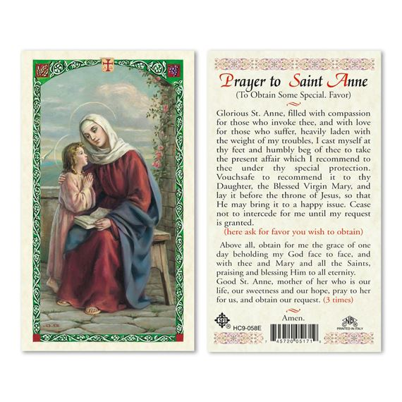 LAMINATED HOLY CARD - ST. ANNE