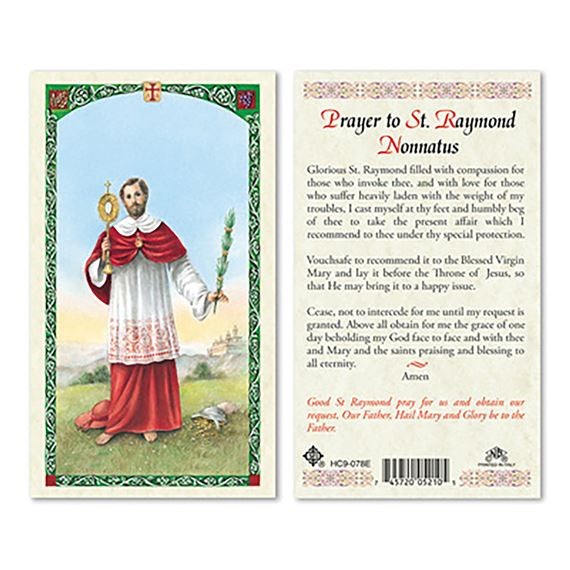 LAMINATED HOLY CARD - ST. RAYMOND NONNATUS