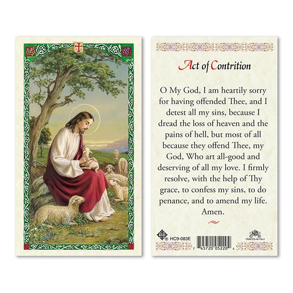 LAMINATED HOLY CARD THE ACT OF CONTRITION