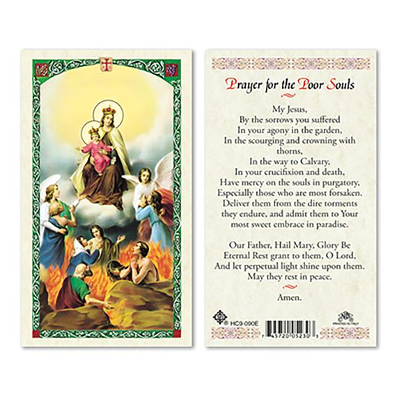 LAMINATED HOLY CARD - PRAYER FOR THE POOR SOULS