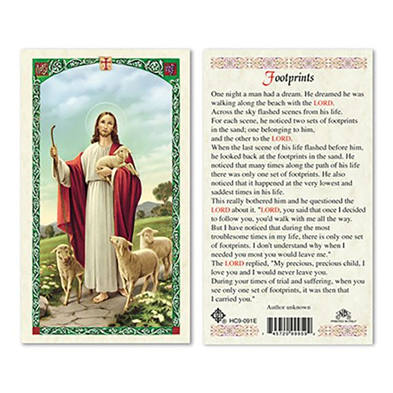 LAMINATED HOLY CARD - GOOD SHEPHERD (FOOTPRINTS)